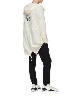 Y-3 Logo print hooded organic cotton parka