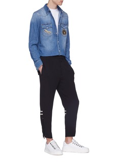 Alexander McQueen Mix appliqué denim shirt
