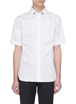Main View - Click To Enlarge - Alexander McQueen - Dancing skeleton embroidered short sleeve shirt