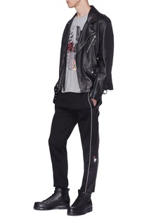 Alexander McQueen Rose skull embroidered satin outseam jogging pants
