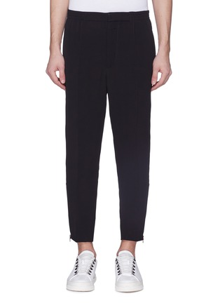 Main View - Click To Enlarge - Alexander McQueen - Satin stripe crepe jogging pants