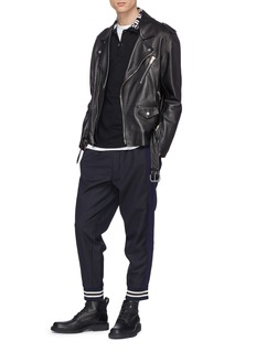 Alexander McQueen Contrast outseam pinstripe virgin wool jogging pants