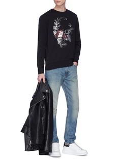 Alexander McQueen Metallic rose skull print sweatshirt
