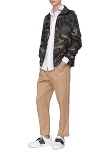 Valentino Logo camouflage print hooded windbreaker jacket