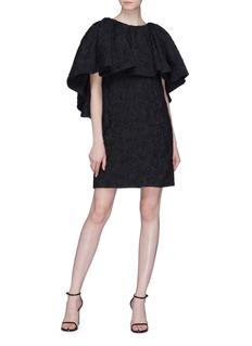 CALVIN KLEIN 205W39NYC Ruffle drape rose cloque jacquard dress
