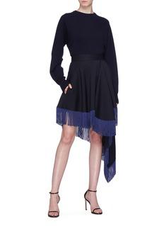 CALVIN KLEIN 205W39NYC Fringe hem asymmetric drape virgin wool skirt