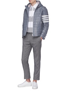 Thom Browne Stripe sleeve hooded down puffer jacket
