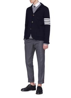 Thom Browne Stripe sleeve cashmere-cotton knit sweatshirt
