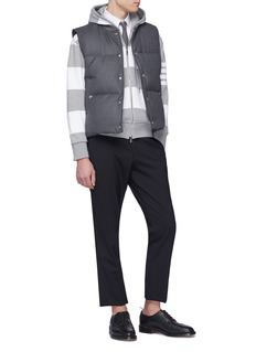 Thom Browne Button cuff rugby stripe zip hoodie