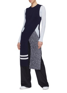 MRZ Split crossover front wool-cashmere knit top