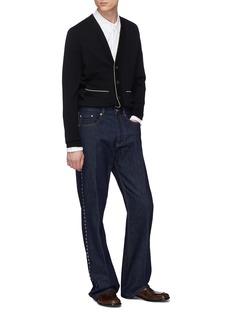 Dries Van Noten 'Micro' contrast border Merino wool blend cardigan