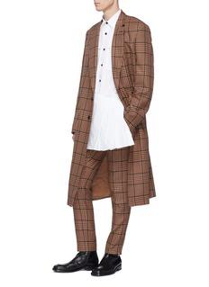 Dries Van Noten 'Copper' pleated kilt panel twill shirt
