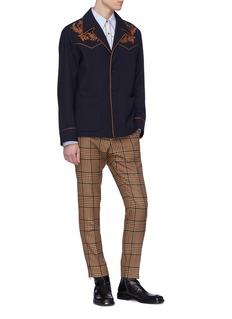 Dries Van Noten 'Vetiver' leaf embroidered shirt jacket