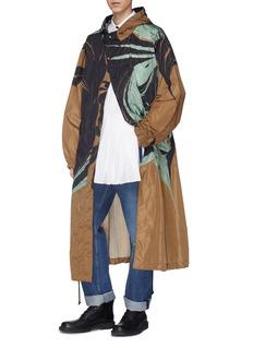 Dries Van Noten 'Vasquez' marble effect splatter print oversized hooded parka
