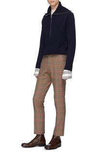 Dries Van Noten 'Mikhos' rib knit panel wool turtleneck sweater