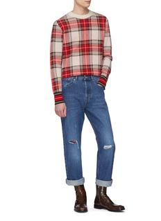 Dries Van Noten 'Maddox' contrast hem tartan plaid sweater