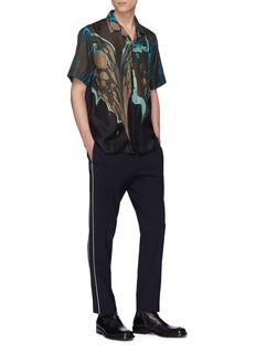 Dries Van Noten 'Calrton' abstract marble print silk short sleeve shirt