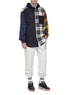 Alexander Wang  Colourblock mix tartan plaid twill shirt hoodie