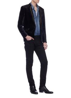 SAINT LAURENT 'Galons' contrast trim velvet long jacket