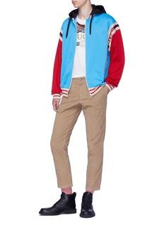 Gucci Logo stripe colourblock zip hoodie