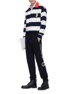 Gucci Piglet appliqué knit rugby stripe polo shirt