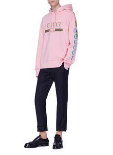 Gucci Dragon applique logo sleeve hoodie