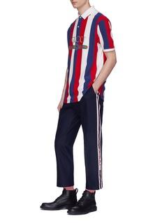 Gucci Logo print baiadera stripe polo shirt