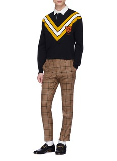 Gucci Cheetah appliqué chevron stripe rugby polo shirt