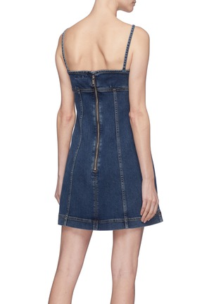 Back View - Click To Enlarge - Alexa Chung - Tie keyhole front denim dress