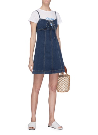 Figure View - Click To Enlarge - Alexa Chung - Tie keyhole front denim dress