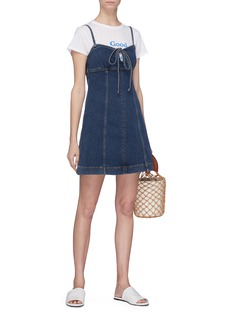 Alexa Chung Tie keyhole front denim dress