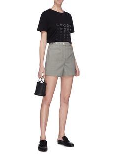 Alexa Chung Snap button waist Houndstooth shorts