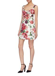 Dolce & Gabbana Peony print brocade sweetheart dress
