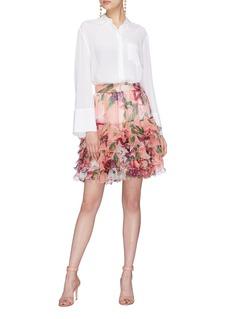 Dolce & Gabbana Peony print ruffle tiered silk chiffon skirt
