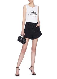 Dolce & Gabbana Swarovski crystal collar logo print oversized tank top
