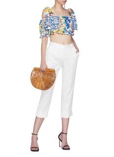 Dolce & Gabbana Tie shoulder Majolica print cropped top