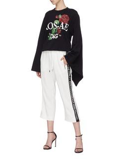Dolce & Gabbana 'Ros-ae' slogan rose print kimono sleeve sweatshirt