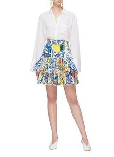 Dolce & Gabbana Majolica print tiered ruffle poplin skirt