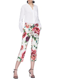 Dolce & Gabbana Peony print cropped brocade pants
