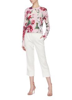 Dolce & Gabbana Lace trim peony print silk blend sweater