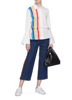 Mira Mikati Rainbow stripe drawcord slogan print shirt