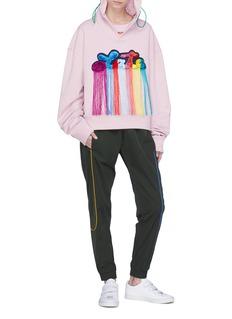Mira Mikati 'Late' rainbow fringe slogan patch hoodie