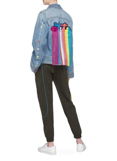 Mira Mikati 'Late' rainbow fringe slogan patch denim jacket