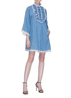 Gucci Lace trim ruffle bib denim tunic dress