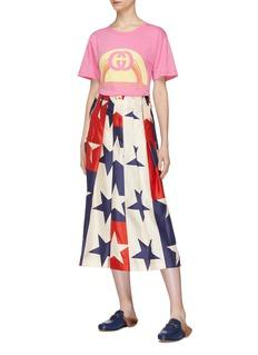 Gucci Mock button outseam star print colourblock pleated culottes