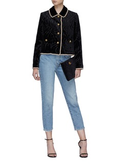 Gucci Glass pearl border crystal button velvet jacket