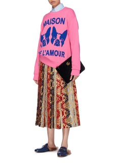 Gucci Lurex logo baiadera stripe jacquard skirt