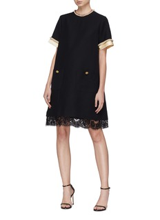 Gucci Glass pearl crystal button wool-silk dress