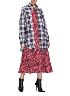 Balenciaga Graphic print panel check shirt dress