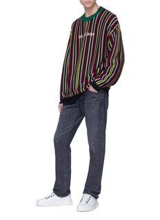Balenciaga Logo embroidered stripe oversized sweater
